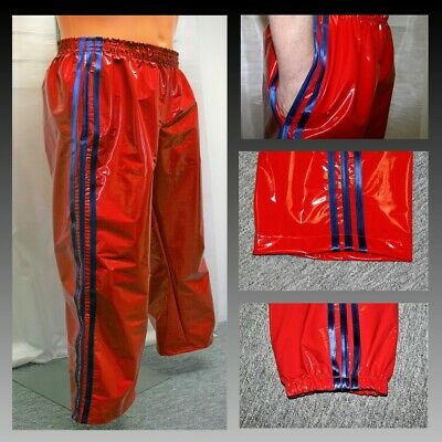 NOW WITH POCKETS 4XL PVC Track Pants S Black /& Golden Yellow