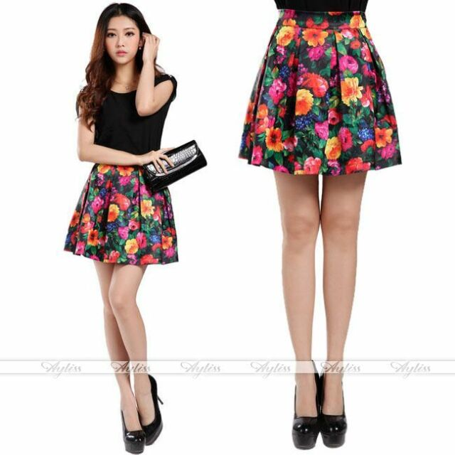 New Women Retro Floral Printed Pleated High Waist Chiffon Short Mini Skirt Dress