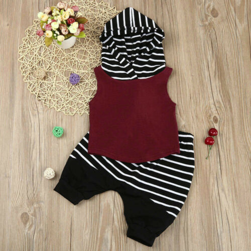 2PCS Toddler Kids Baby Boy Hooded Vest Tops Shirt+Short Pants Outfit Clothes Set