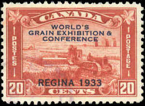 Used-Canada-1933-20c-F-Scott-203-Grain-Exhibition-Issue-Stamp