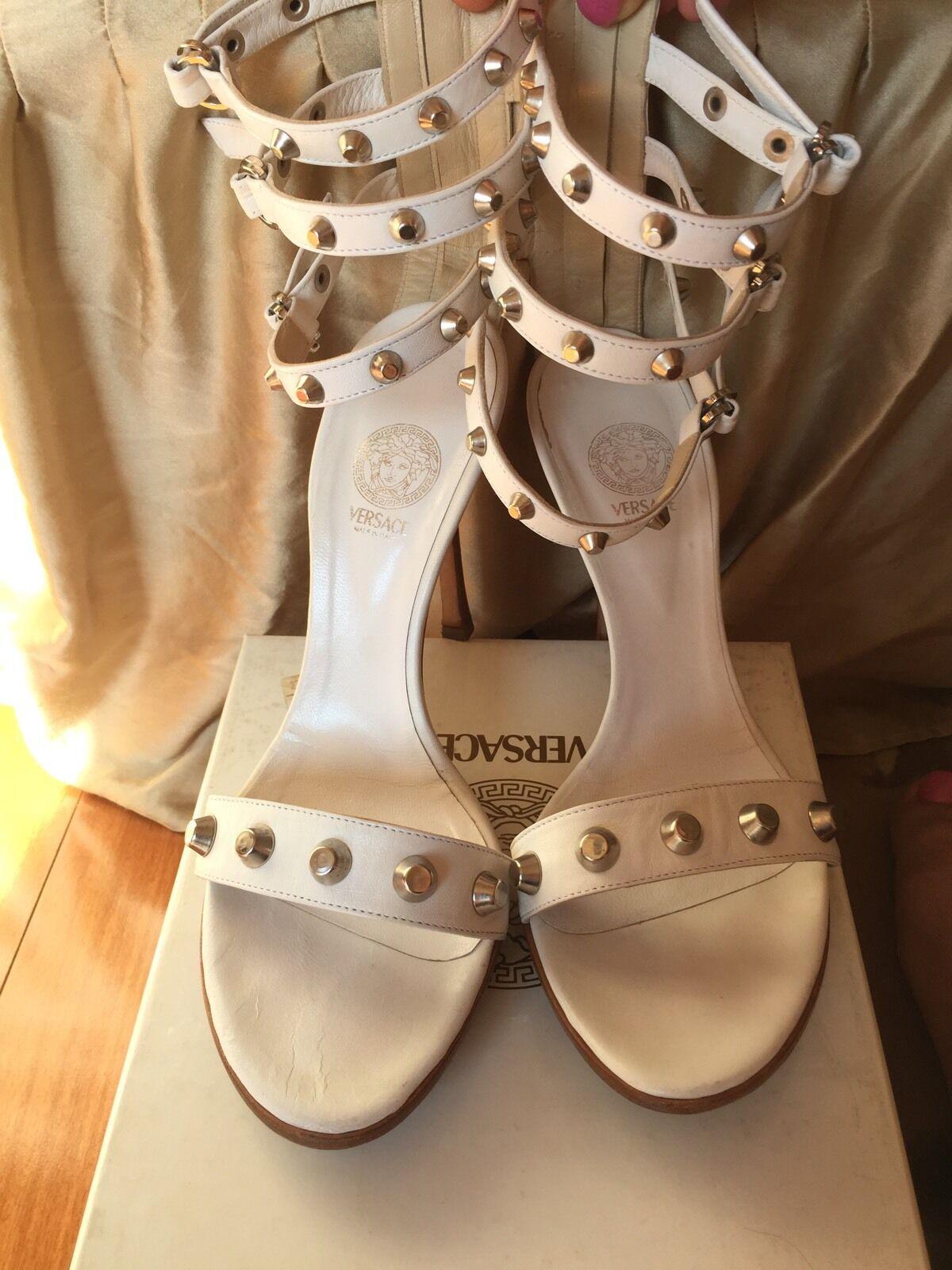 Versace Weiß Studded Triple size Ankle Strap Platform Heels size Triple 38 95ffa5