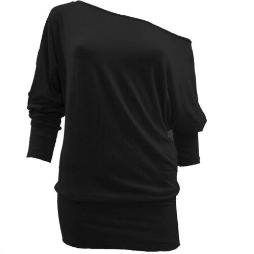 Womens plus size top long sleeve off shoulder big size T-shirt UK 16-28 Batwing