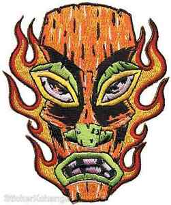 Flaming-Tiki-Head-PATCH-Embroidered-Iron-On-Art-Alan-Forbes-AFP16
