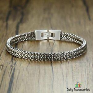 Stainless-Steel-Elegant-Men-Wrist-Bracelet-Double-Link-Chain-Solid-Male-Jewelry