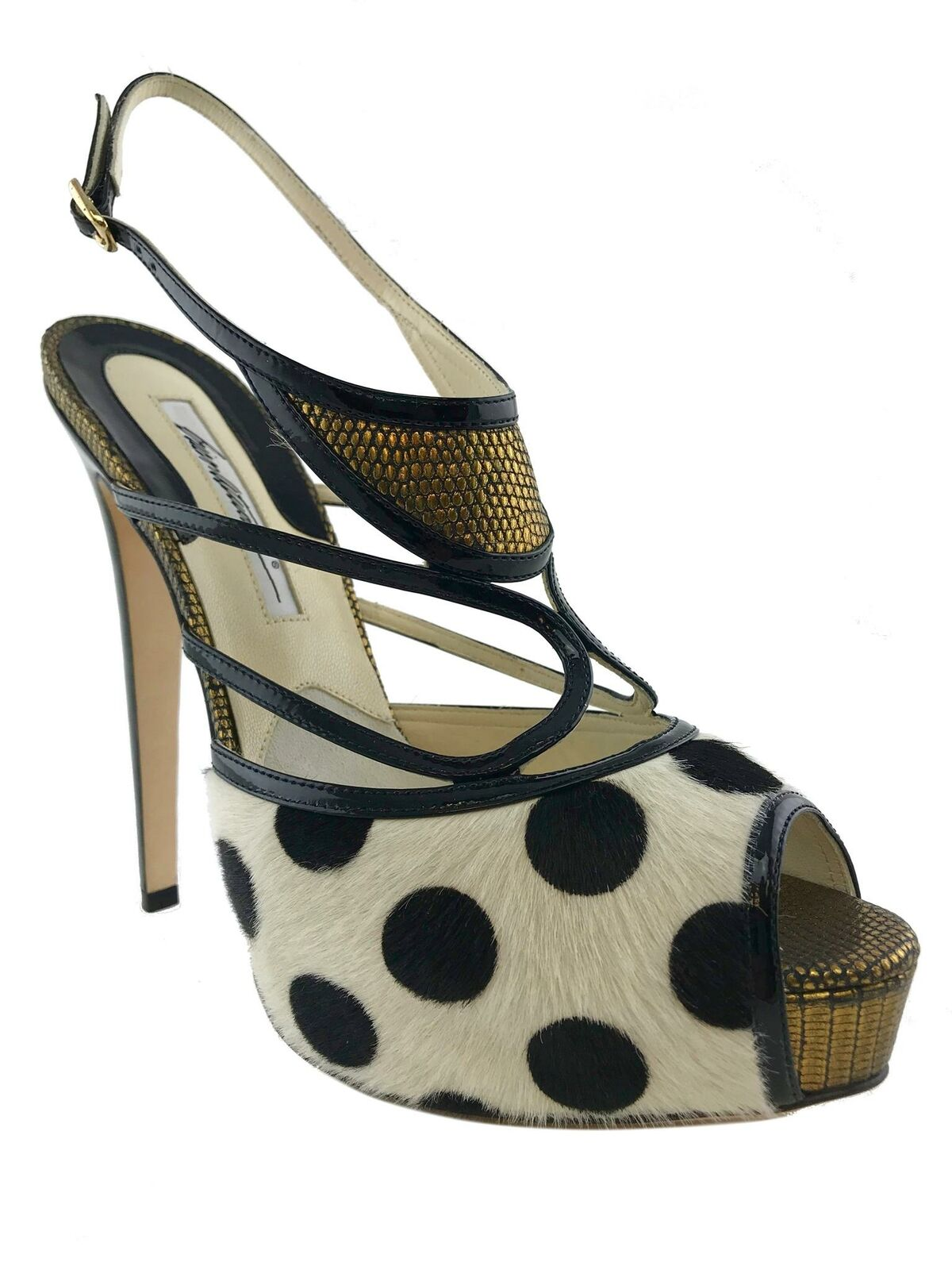 Brian Atwood Aura Polka-Dot Calf Hair Sandals Size 9.5