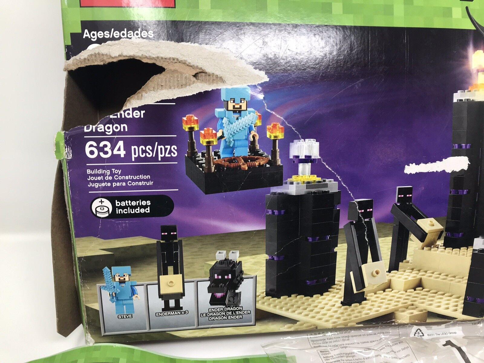 Minecraft Lego 21117 el Dragón Ender 2014 retirado Raro nunca Usado Caja Dañada