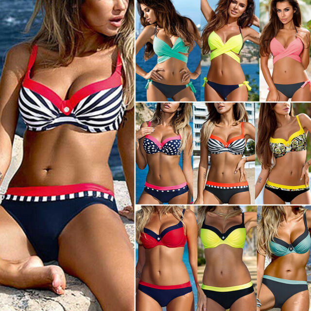 Women Halter Swimwear Push Up Underwired Bikini Top and Bottoms Set Bathing Suit