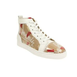 NIB-CHRISTIAN-LOUBOUTIN-Louis-Kraft-Logo-PVC-Hi-Top-Sneakers-Shoes-7-5-40-5