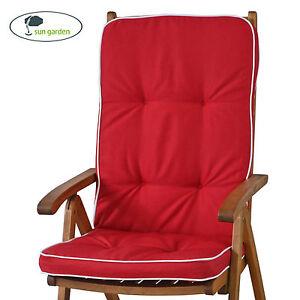 6 x auflagen fuer hochlehner sun garden tomiro 50077 33 in rot kissen sitzkissen ebay. Black Bedroom Furniture Sets. Home Design Ideas