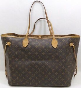 4104a98fc0ae Image is loading Louis-Vuitton-Brown-Monogram-Canvas-Neverfull-GM-Tote-