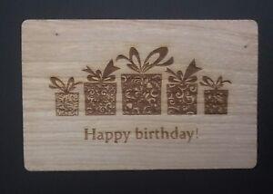 Details Zu Grußkarte Holz Geschenk Karte Happy Birthday Herzlichen Glückwunsch Geschenke