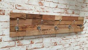 Wandgarderobe-Teak-Haken-silber-Unikat-Holz-Massiv-Natur-Garderobe-Antik-90-cm