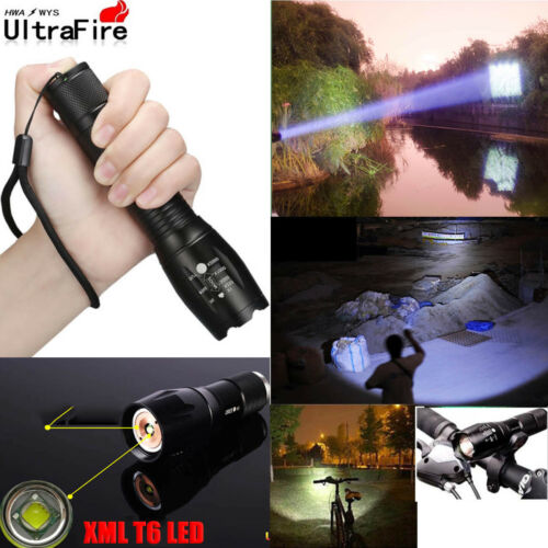 Ultrafire Tactical Zoomable 60000LM T6 LED Flashlight Torch 18650 Charge Case UK