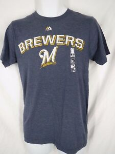 New-Milwaukee-Brewers-Men-039-s-Sizes-S-M-L-XL-2XL-Blue-Majestic-Shirt-MSRP-26