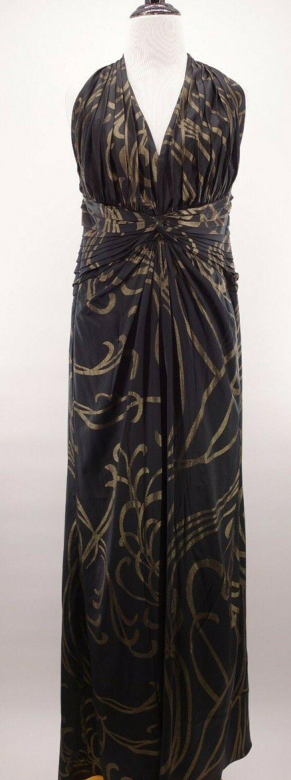 Tadashi Collection 12 schwarz Silk Shimmering Gold Swirl Formal Halter Gown Dress