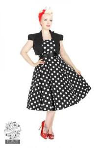 Details About Vestido Pin Up Dress 50s Lunares Polka Dot Bolero Heart And Roses