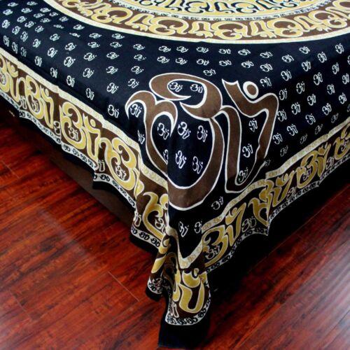 Handmade Cotton Mandala Om Print Tapestry Throw Tablecloth Spread Wall hang Twin