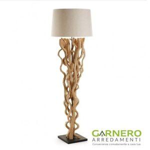 Lampada piantana radice in legno con paralume moderna abatjour NUBA ...