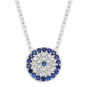 925-Sterling-Silver-Gold-Cubic-Zirconia-CZ-Evil-Eye-Greek-Mati-Nazar-Necklace