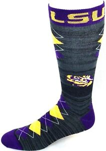 LSU-Tigers-NCAA-Black-RMC-Purple-Yellow-Fan-Nation-Crew-Socks