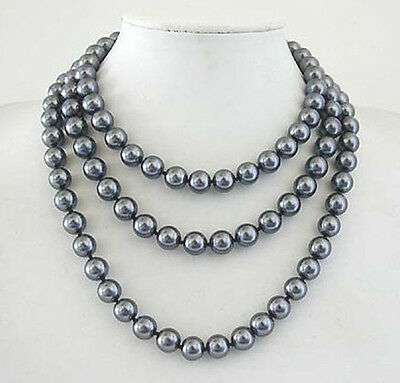 """Long Beautiful 10mm South Sea Grey Shell Pearl Necklace 50"""""""