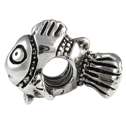 Wholesale Lot 20pcs Clown Fish Silver European Bracelet Spacer Charm Beads D642