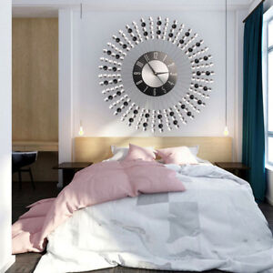 Stylish-Clear-Diamante-Beaded-Jeweled-Sunburst-Round-Metal-Wall-Clock-Time-43CM