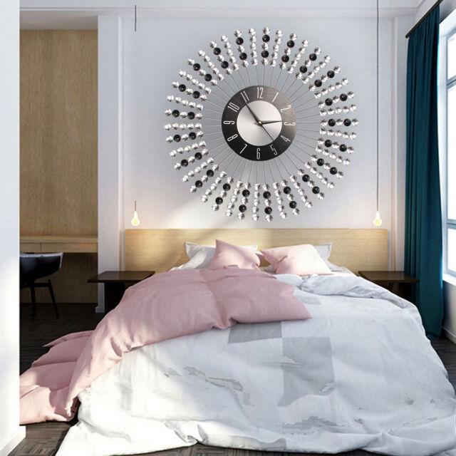Stylish Clear Diamante Beaded Jeweled Sunburst Round Metal Wall Clock Time 43CM