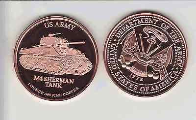"/""SHERMAN TANK/""  1 oz Copper Round Coin"