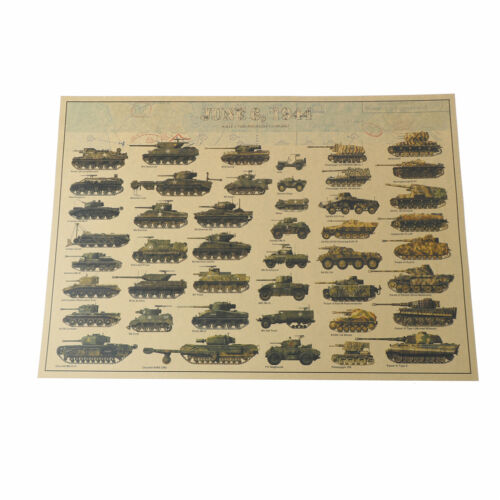 world war ii tank posters retro kraft paper wall sticker art crafts bar caf IO