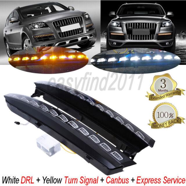 2x White LED DRL Fog Light Daytime Running Turn Signal for Audi Q7 2007-2009 Car
