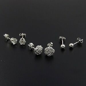 925 Sterling Silver Plated Set of 3 Stud Earrings 4mm Ball 5mm Crystal Rose.