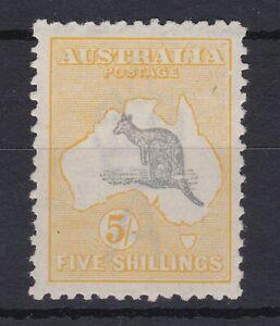 K835-Australia-1918-VARIETY-on-5-Grey-amp-Pale-Yellow-3rd-wmk-Kangaroo-Fresh-MLH