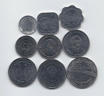 BANGLADESH LARGE 9 DIFFERENT UNCIRCULATED COINS SET RARE AND VERY CHEAP