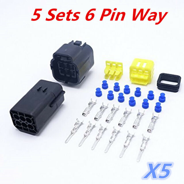 5 Kit 6 Pin Way Amp Waterproof Wire Connector Plug Terminal Set Car Waterproof Wire Connector Plugs on