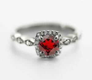 925-Sterling-Silver-Ring-Red-Garnet-Natural-Petite-Solitaire-Size-4-11
