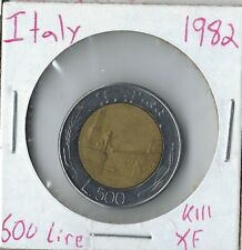 World's 1st Modern Ringed Bimetal Coin UNC 1982 Italy 500 Lire Bimetal A FIRST!