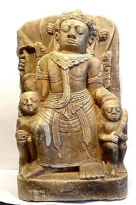 Sculpture En Pierre Vishnu - Inde / Pakistan - Indian Carved Limestone Relief Esthetisch Uiterlijk
