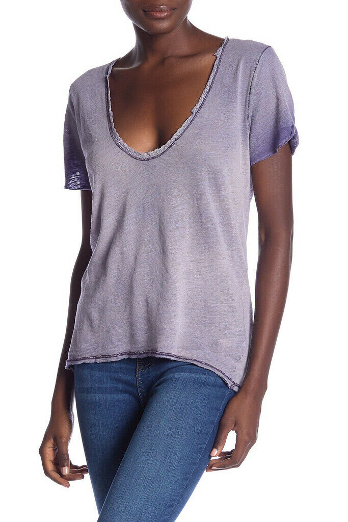 Free People Womens Saturday OB778743 Tee Lace Twilight Wisteria Purple Size XS