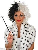 Ladies Black White Cruella De Ville Halloween Wig Fancy Dress Costume Accessory