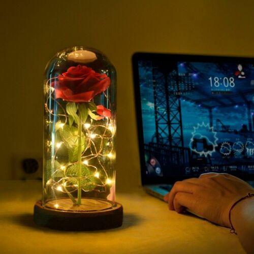 Enchanted Rose Flower In Glass LED Light Wedding Festival Home Xmas Decor Gift