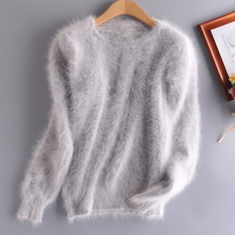 ️ GRAU 100 % ANGORA PULLOVER WOLLE 20 FARBEN WOOL JUMPER SWEATER MINK CASHMERE