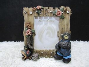 Ceramic-Rustic-Bears-with-Flowers-and-Fish-4-034-x-6-034-Photo-Frame-Decorative-Home