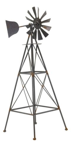 """25/""""H Large Rustic Western Country Farm Windmill Outpost Galvanized Metal Statue"""