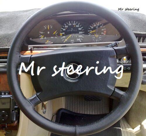 Pour mercedes-benz W123 76-84 véritable en cuir italien noir volant couverture