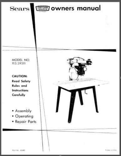 "Sears Craftsman 12/"" Radial Arm Saw Manual No.113.29511"