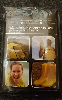 Usable Rain Waterproof Poncho Cape in a Handy PVC Case Adults Re
