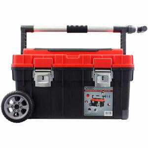 Vintec Mobiler Werkzeugkoffer mit Kleinteilefächer, herausnehmbare Trage