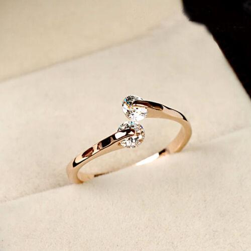 Fashion Elegant Double Cristal Bague De Fiançailles 18K gold filled Ring USA 6//7//8//9