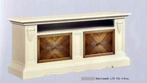 Mobili Laccati Classici.Dettagli Su Mobile Porta Tv Legno 2 Cassettoni Intarsi Laccato Avorio E Noce Xsoggiorno 1020